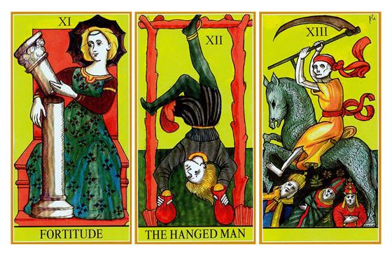 A Força, O Pendurado e A Morte – Dame Fortune's Wheel Tarot